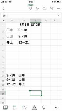 エクセル シフト このようなシフト表を作成した時に、下に関数挿入して 一発でこの時間に誰か勤務しているかを表示させる事は可能でしょうか? 今3人しかいませんが実際は50人ぐらいいます!アドバイスお願いします!