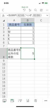 ExcelのSUMIF関数について ExcelのSUMIF関数の条件で文字列の数字を扱う方法を教えてください。  画像でいう商品番号列は全て文字列になっています。  その商品番号″9″以外の在庫数をSUMIF関数で計算したいのですがうまくいきません。(4を出したいのに5になってしまいます)  解決方法があれば教えてください。