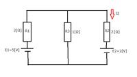 電気回路の問題について質問です。  電流I₂をノートンの定理を用いて求めよ。という問題なのですが、解説お願いします。 E1=5[V], E2=2[V], R1=2[Ω], R2=2[Ω], R3=1[Ω]