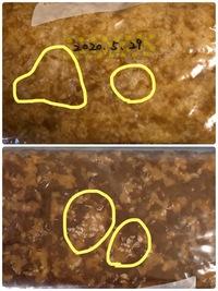 手作り味噌のカビ? について教えてほしいです。  5月下旬にジッパー袋で少量の味噌作りをしました。 画像のような白いものがありますが これはカビでしょうか。 どのようにすればいいのか教えてほしいです...