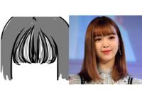 前髪の巻き方について。 私は少し薄めのぱっつん前髪で毎朝ストレートアイロンで巻いています。  画像の藤田ニコルさんのような感じに巻きたいのですが、どうにも左のイラストのようになって しまいます、、、  厚さはこの画像のニコルさんと同じくらいのはずなのですが、上手くいかなくて。  きちんとドライヤーで寝癖などを取ってから巻いているのですが、何がダメなのでしょうか?  一気に巻...