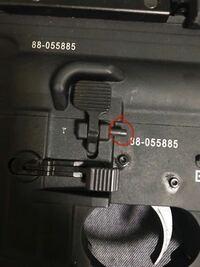 VFC HK416a5 GBB赤で囲んだピンみたいなのが緩くなって抜けてくるのですが、固くして抜けないようにするにはどうすればいいでしょうか。