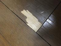 フローリングの剥がれ補修方法についてです。(写真)  フローリングの何ヶ所かがこのように剥がれています。自分でどうにかしたいのですが、どのようなアイテムが必要かお教えください!電熱コ テで溶かして埋め...