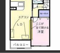 エアコンの設置場所について リビングにエアコンを設置するのですが図の2箇所ではどちらの方がいいと思いますか? LDKが10畳、洋室が6畳です。