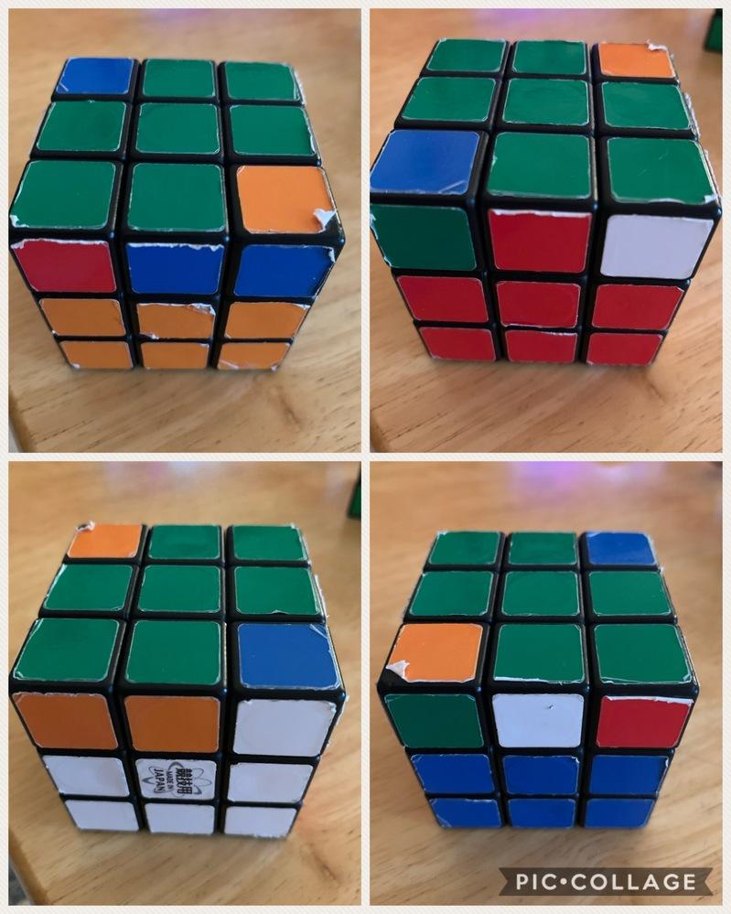 このルービックキューブは正しいですか? お友達から借りたルービックキューブで遊んでいます。 ここまできたのですが、何度回しても端のパーツの向きが合わないような気がして、、、 過去 に分解したか...