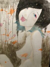 絵の評価をお願いします。 油性ボールペン、水彩絵の具、アクリル絵の具で描きました。