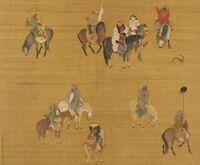 この絵はモンゴル帝国のフビライハンが狩りに出ている時の絵ですが、この黒い人たちはどこ出身の人たちと思われますか?モンゴル帝国は征服した民族を差別せずに幹部に登用しました。