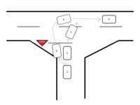 T字路の進入時に割り込みについて   先日、T字路の進入時に割り込みで危険な思いをしました。幸い事故には至りませんでしたが、もし接触していた場合の過失割合について教えて下さい。 当方Aとその後続車Bが、中央線のない片側1車線幅の路地から前方の優先道路に進入しました。前方の道路とはT字で接続されており、そこには一時停止の標識があります。また、優先道路との接続部は通行を容易にするためか少し広...