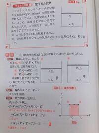 この物理の熱力学の問題なのですが、本問は定積変化ではなく定圧変化なのに、なぜ(1)でCv(定積モル比熱)を使ってるのですか?体積が変化してるのに、Cvを使って求めてるのがなんかしっくりこなくて気持ち悪いです。