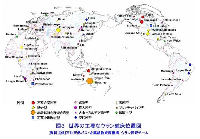 日本列島にはなぜ巨大なウラン鉱床がないのでしょうか? カナダのシガーレイク鉱床、オーストラリアのオリンピックダム鉱床、ナミビアのロッシング岩体は3つとも大陸にありますが、日本列島はプレート付加体...