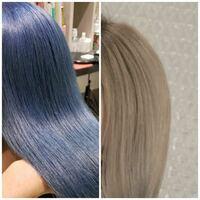 今の髪色が右側くらいのです。 ムラシャン(グッバイイエロー)を週に2〜3回使ってます。 左側の色にしたいのですが、これはイルミナカラーでできますか??