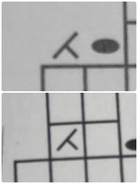 棒針編みについての質問です。 編み図を見ながら編んでいるのですが下の写真の様にマスから出ている左上2目一度と マスの中にある左上2目一度があります。 この違いはなんでしょうか?