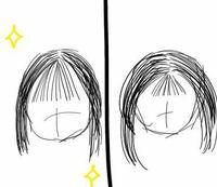 私は、画像の右側のように前髪の位置が低いです。 左のように位置を高くしたいのですが、高くしようと他の髪の毛をもってくると前髪が重くなってしまいます。 どうしたら前髪が重くならないで、位置を高くできますか? わかる方教えてください>_<