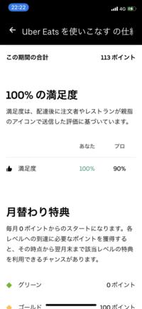 ウーバー配達員アプリの満足度欄における プロ の意味について教えてください。 あなた の方は100ですが、隣のプロのほうが90%になってるのがきになります。