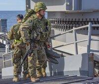 この陸上自衛隊員についてです。防弾チョッキ3型の上になにかつけているように見えるのですが、官品のチェストリグかなにかでしょうか? 教えてください