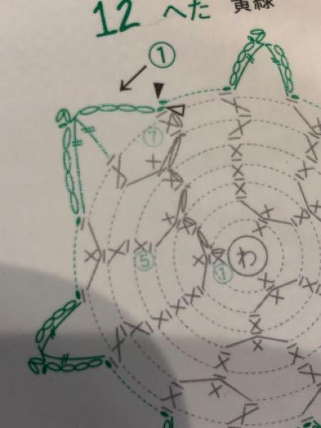 編み方について詳しい方教えてください。 ここの緑の部分なのですが、引き抜き→鎖4目→長々編み→長々編み→鎖2目の引き抜きピコット→鎖4目→引き抜きで編めばいいのでしょうか?(一段で全て編むのであ...