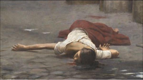 これはなんという絵画ですか? 女性が首から血を流して倒れています