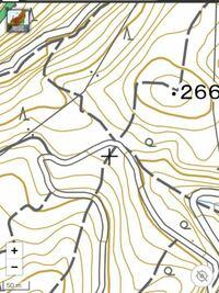 地図の線について教えてください。 山間部の私の所有する土地に、 等高線や道路の他に 「定間隔に太く少し長い棒線」があります。 現地に行っても、何の意味する線かわかりません。  詳しい方は教えてください。