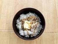 今日の昼ごはんですが、麻婆豆腐の材料が無いので仕方無しに豆腐丼にしました。  米代を含め13円です。  贅沢し過ぎでしょうか?