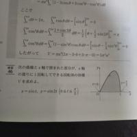 練習46の問題で体積ではなく面積の求め方を教えてください。 (tの範囲は0以上π/2以下)