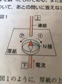 中学理科 電流と磁界  画像の問題で、 電流は下から上へ流れているので磁界が反時計回りなのはわかるのですが、 磁針のN極がイの方へ動く理由がわかりません。 磁界の向きどおり、アかと思ったのですが丸つけをし...