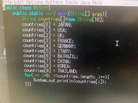 このJAVAのプログラムで、コンパイルエラーでシンボルを見つけられませんと出るのですが原因わかりませんか?