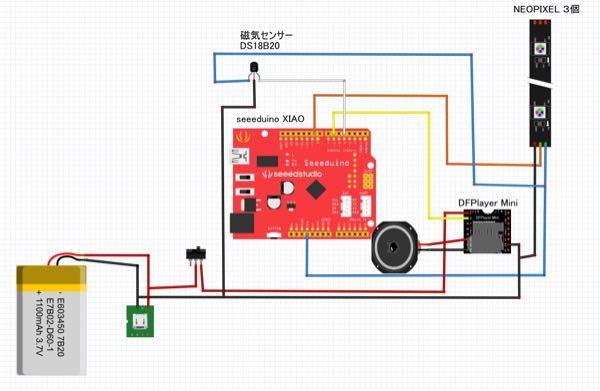 マイコンボードはseeeduino xiaoを使っています。 写真のように回路を組むとdfplayerが発熱してしまいます。 ですがスピーカーのみブレッドボード上で繋いだ時は発熱がなく正常に動作...