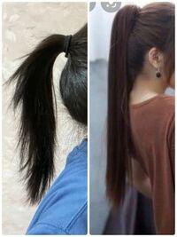ポニーテールをすると途中でぴょんぴょん毛が出てくるのと、根元の方が浮いてしまいます。右の写真のような、下までストンとストレートで、後頭部にポニーテールがぴたんとつくにはどうすればいいですか?髪を伸...