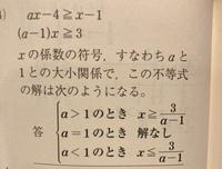 数学Ⅰの一次不等式に対する質問です。  こちらの問題で、 a<1のときの解答がx≦3/a-1になるのがいまいちわかりません。 (a-1)x≧3の両辺を(a-1)で割るときに不等号が反転するものだとはわかりますが、-の符号がないので混乱しました。    不等号が反転するだけでx≦3/a-1の方に-符号がつかないのは、a<1によって(a-1)がマイナスのものと扱われているからな...