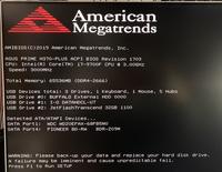 PC起動時にアメリカンメガトレンドが出て困っています。 最初はごくたまにといった感じだったのですが、だんだん頻発していき PCを閉じてから数時間おいて起動するとほぼ確実に出るようになってきました。  American Megatorrendsの内容を見るに、「HDDのバックアップを取っておけ」というようなことを書いているのですが 問題があるのがどのHDD、外付けHDDなのかわかりません。 も...