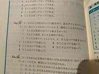 判断推理 対応関係 問題 解説 教えてください。 55です。  答えは1です。 解説ありますが理解できなくて。返信くれた方に解説送ります。  東京アカデミー オープンセミナー 初級 公務員 数学 算数 組分け