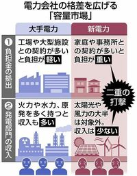 以下の東京新聞経済面の記事を読んで、下の質問にお答え下さい。 https://www.tokyo-np.co.jp/article/69409? rct=economics (東京新聞経済面 発電所維持の新制度、新電力に負担重く 大手と格差鮮明、撤退を懸念...