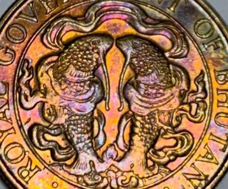 ブータンの硬貨については教えてください。 画像の魚と思われる図柄をご存知の方、教えてください。また、ブータンの硬貨は図柄がとても細かく美しい様々な物が描かれていますが、何を表しているのか、教えて...