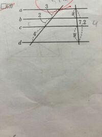 このa.b.c.dの線は平行です。 xとyの求め方が分からないので教えてください。