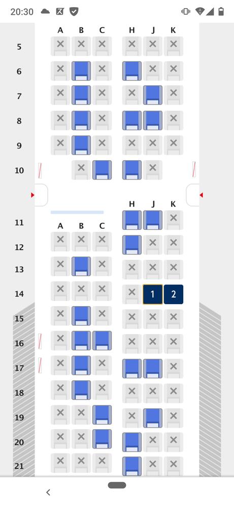 11月26日(木)の羽田~長崎の空席状況です。写真の✕印の所は本当に埋まってるのですか?それともコロナの影響で座席減らしているだけですか?