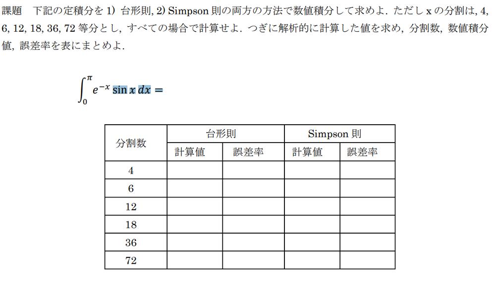 下記の定積分を 1) 台形則, 2) Simpson 則の両方の方法で数値積分して求めよ. ただし x の分割は, 4,6, 12, 18, 36, 72 等分とし, すべての場合で計算せよ. ...