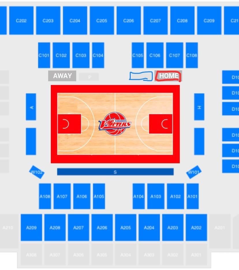 選手が座るところは青枠のところですか?赤枠のところですか?無知ですみません #B2 #熊本ヴォルターズ #プロバスケ