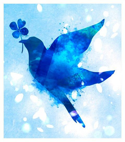 イネスの自由帳 I can see a strange bluebird on the loof. The bluebird carries the sky on his back. It's ...