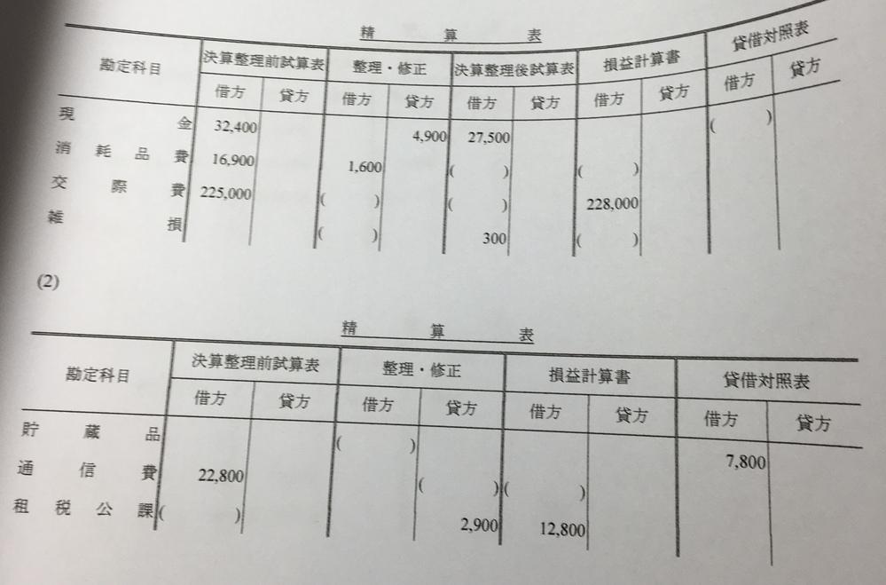 度々すみません。 簿記3級の精算表の問題についてです。 (問題)解答用紙の精算表について、()に当てはまる適切な金額を答えなさい。なお、解答用紙に記載のない事項について考慮する必要はない。 解...