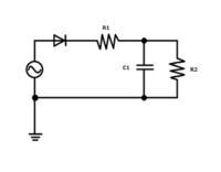 学校のレポートのことで質問 単相半波整流回路のことについて教えてください 考察 1)R1,R2,C1が変化したときの電圧・電流の変化についてまとめよ  2)ダイオードの突入電流が低減するには、どのようにしたら良いか  この2つについて教えてください 単相半波整流回路の回路図も貼っておきます 説明不足かもしれませんが、説明が足りない場合はご指摘お願いします  交流電源:振幅141V,周波数60...
