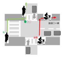 この自転車の走行ルートは違法になりませんか?写真のとおりです。 このようなシーンを見たので疑問に思いました。 法改正後、自転車に乗っている場合、歩行者扱いではありません。 では、自動車と同じ扱いなら、...