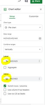 グーグルスプレットシート  ラベルと値のカテゴリーの文字は何を表しますか?