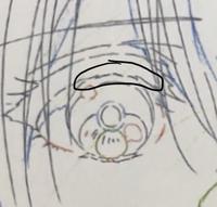 イラストについて質問です 丸で囲っている瞼の凹凸は何なのでしょうか?