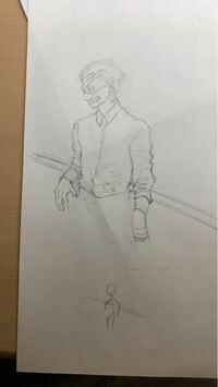 下の棒人間のように描きたいのですが、うまくいかないです… 骨組みだけでもいいので誰か描いてくれますか?