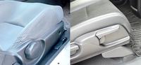 シートの座面調整について 昔は左のように丸いダイヤルが多かったのですが、最近は右のようにレバー式になってるようですが、これって原理は同じですか? また、名称も同じでしょうか?