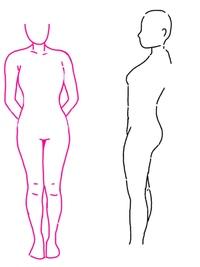 下の画像は骨格ウェーブ、ストレート、ナチュラルのどれに当てはまるでしょうか? ピンクの線でなぞった写真は少し上から撮ったので足の長さなどに多少誤差あります..(><) 猫背なので多少変なとこあるかもです..  ・首は短い ・鎖骨は触るとあるが、目立たない ・腰が高い or 胸の位置が低いのどちらかが原因で、シャツをズボンにインするコーデをするとズボンのすぐ上が胸です。変...