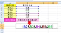 エクセル 関数・数式で質問させて頂きます。 B7には 単純にB2~B6を表示させていますが、同じ名前は省いて表示させるとしたらどういう式にすればよいでしょうか。 かなり難題だと思いますがどうぞ宜しくお願いします。