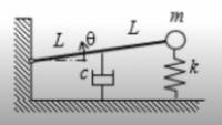 ラグランジュ方程式の問題です。 運動方程式を立てるために画像の振動系(自由加振されています)の運動、位置、消散エネルギーを求めたいのですが、運動:1/2 m (x')^2、位置:1/2 k x^2 + 2mgLsinθ、消散:1/2 c (x')^2で合ってますでしょうか?