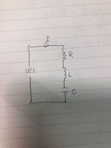 図のような、抵抗R=4Ω、インダクタンスL=32mH、キャパシタンスC=455μFの直列回路に実効値E=100V、周波数f=50Hzの電圧を加える。 電流、力率、有効電力、無効電力をそれぞれ求め...