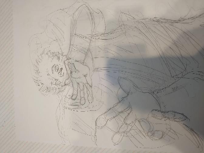 本格的にイラストをやりたいなと一週間前に思い、まず模写からと思い始めました。 鉛筆でラフですが感想ください。 呪術廻戦14巻表紙の模写です。